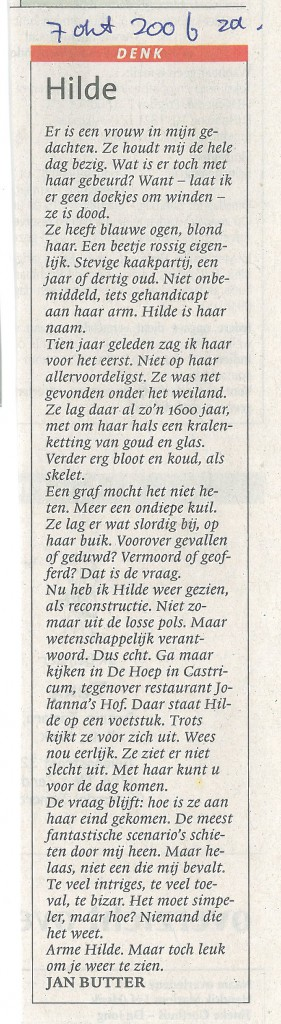 Noord Hollands Dagblad, 7-10-2006 Hilde