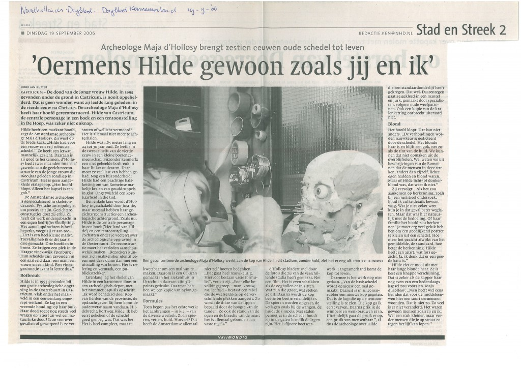 Noord Hollands Dagblad, 19-09-2006 Hilde