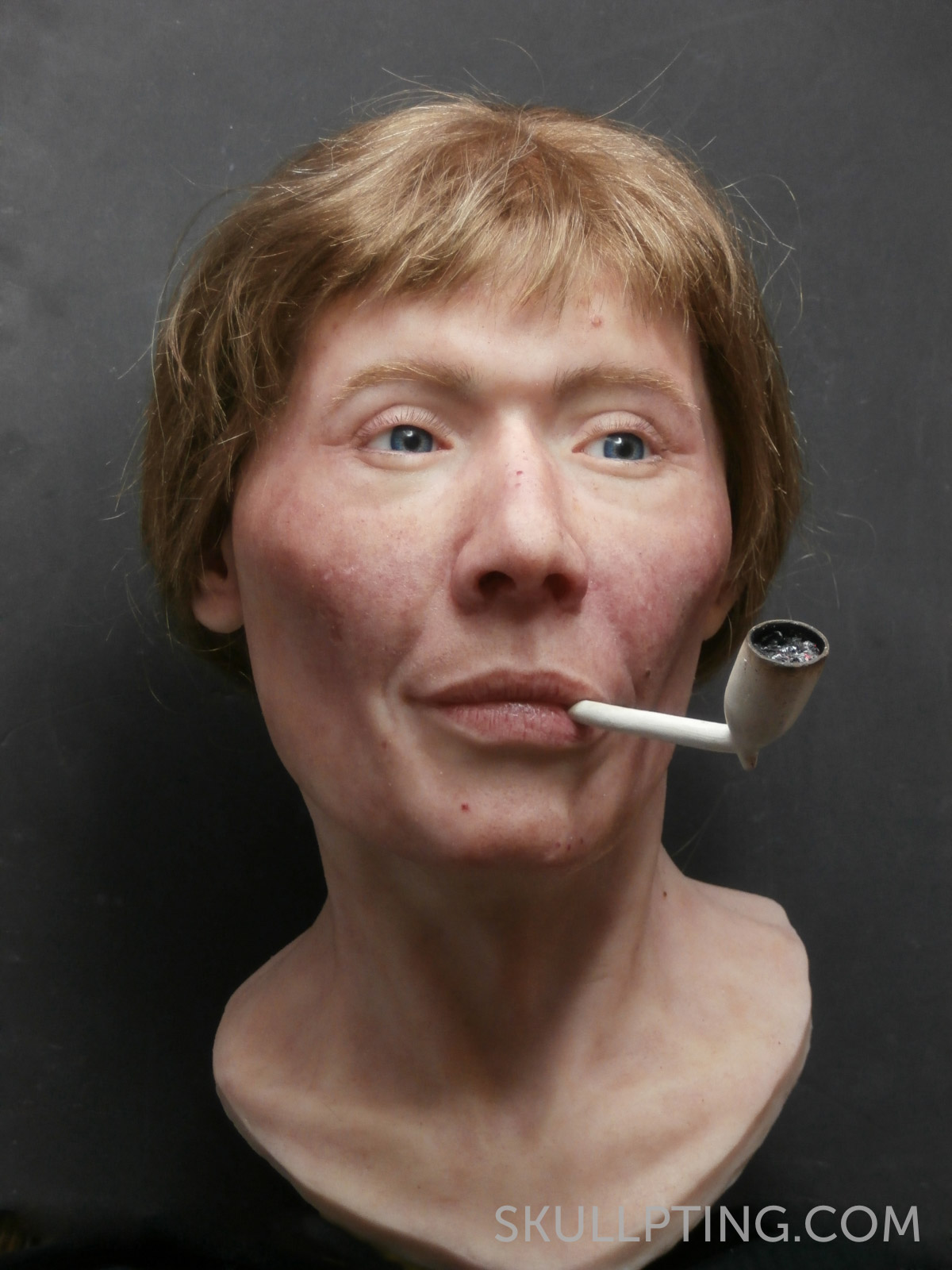 The finished facial reconstruction.