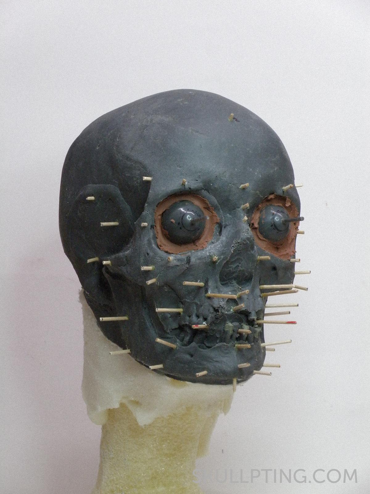 de kopie van de schedel met de pinnetjes die de weefseldiktes aangeven