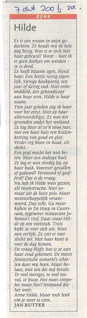 Noord Hollands Dagblad, 7-10-2006 Hilde