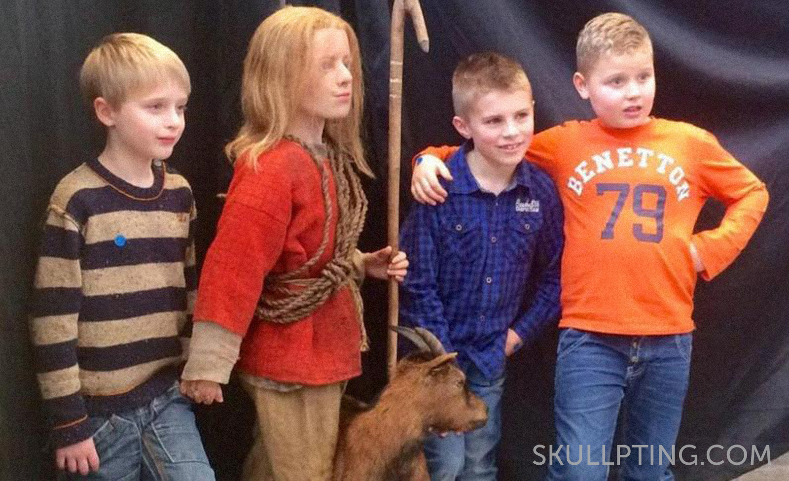 At the official revealing of Aak, the iron age boy. Picture: NOS jeugdjournaal